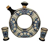 Liquor Decanter Set Tequila, Handmade and Hand Painted, Made of Baked Ceramic at High Temperature (01 Blue, 3)
