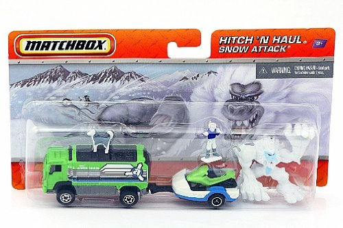 Matchbox Hitch 'N Haul Snow Attack Truck, Bigfoot, Dog Team, Snowmobile & Arctic Explorer