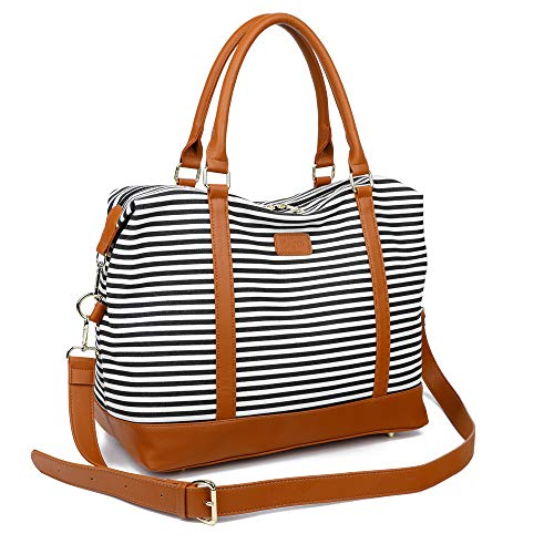(Ulgoo Women Travel Tote Bag Carry On Shoulder Bag Overnight Weekender Duffel in Trolley Handle (Black & White Stripe))