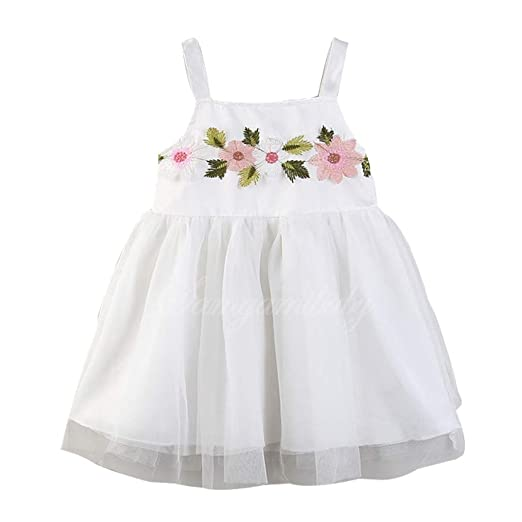 3d515787b148 Amazon.com: Toddler Kids Baby Girl Clothes Flower Princess Sleeveless Tulle  Suspender Dress: Clothing