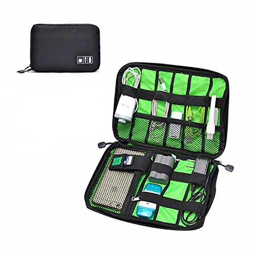 Richard Small Wood (Richard Woods Travel Data Bag Small Storage Pouch Lightweight Variety Travel Electronics Cable Organizer Bag Pouch Bag Earphone Pouch Zipper Wallet for Cables, Charger Case,Power Bank- Black)