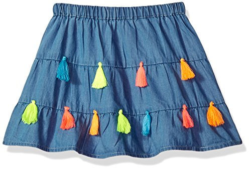 Mud Pie Baby Girls Chambray Tassel Tiered Skirt, Blue, MD/ 2T-3T