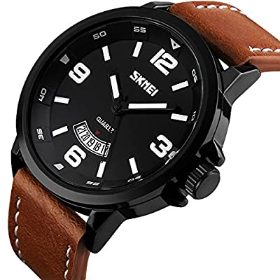 Mens Unique Analog Quartz Leather Band Dress Wrist Watch Waterproof Classic Business Casual Fashion Design Scratch Resistant Face Calendar Date Window Phase 98FT 30M 3ATM Water Resistant - Black