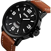 Men's Business Quartz Watch, Casual Fashion Analog Wrist watch Classic Calendar Date Window, Waterproof 30M Water Resistant Comfortable Unique PU Leather Watches-Black