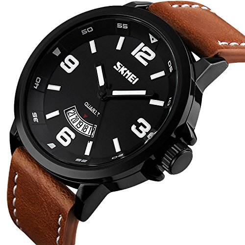 Mens Unique Leather (Men's Business Quartz Watch, Casual Fashion Analog Wrist watch Classic Calendar Date Window, Waterproof 30M Water Resistant Comfortable Unique PU Leather Watches-Black)