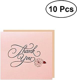 BESTOYARD 10pcs Merci Carte de voeux Creative Art Fonts Merci Votre Entreprise de Mariage Anniversaire (Rose)