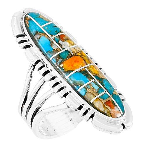 - Spiny Turquoise Ring Sterling Silver 925 Genuine Gemstones Size 6 to 11 (Bold Inlay) (9)