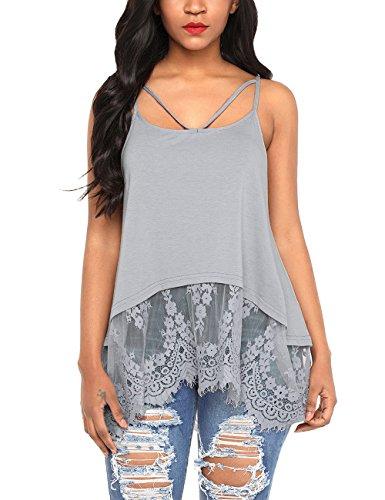 Shape Criss Cross Top (luvamia Women's Casual Lace Hem Summer Crisscross Tank Top Cami Shirt Grey Color, SIZ XL)