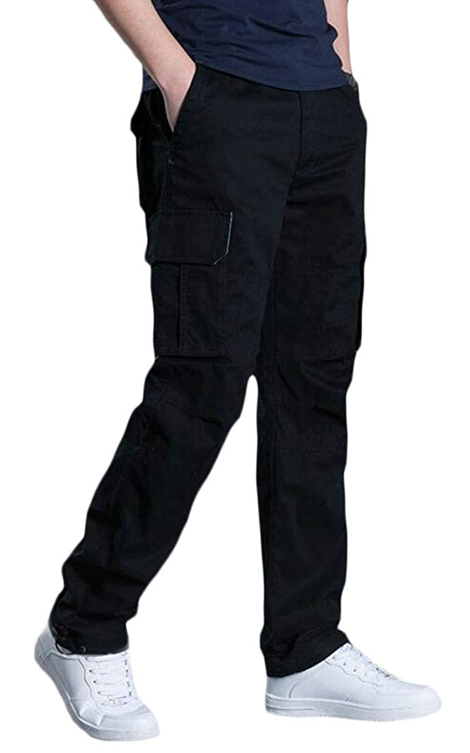Esast Men Cotton Multi Pocket Military Combat Army Tactical Cargo Pants Trousers