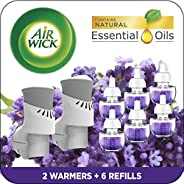 Air Wick Plug in Scented Oil Starter Kit, 2 Warmers + 6 Refills, Lavender & Chamomile, Eco Friendly, Essen