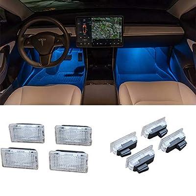 Car Interior LED Car Door Light Upgrade Lighting Replacement Compatible Kit Glitter Lamp for Model 3 X S(4 pcs)(Blue): Automotive