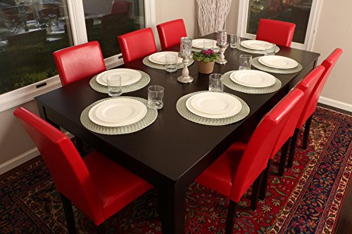 "Formal 9 Piece - 8 Person Butterfly Extension Table 42"" x 78"" and Chairs Dining Dinette - 150250 Red Leather Parson Chair"