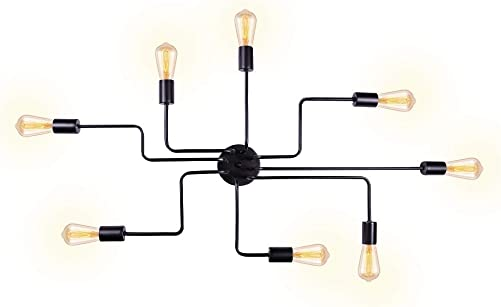 T A Black 8 Lights Sputnik Chandelier Semi Flush Mount Ceiling Light,Modern Industrial Style Lighting Fixture for Kitchen Dining Room