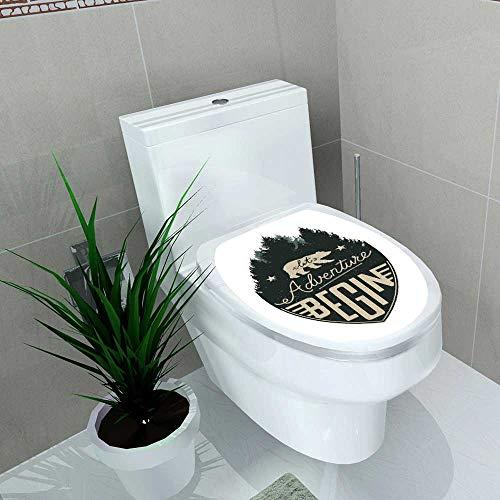 Auraise-home Vinyl Decal Laissez Adventure Begin Vintage Le Badge Forest t-Shirt ou Label designmodèle Decoration for Bathroom Toilet W13 x L13