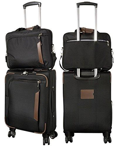 Koffer Nylon-Reiseset 3tlg Maui schwarz aus Nylongewebe Stoff Trolley Tasche Case Fa. Bowatex