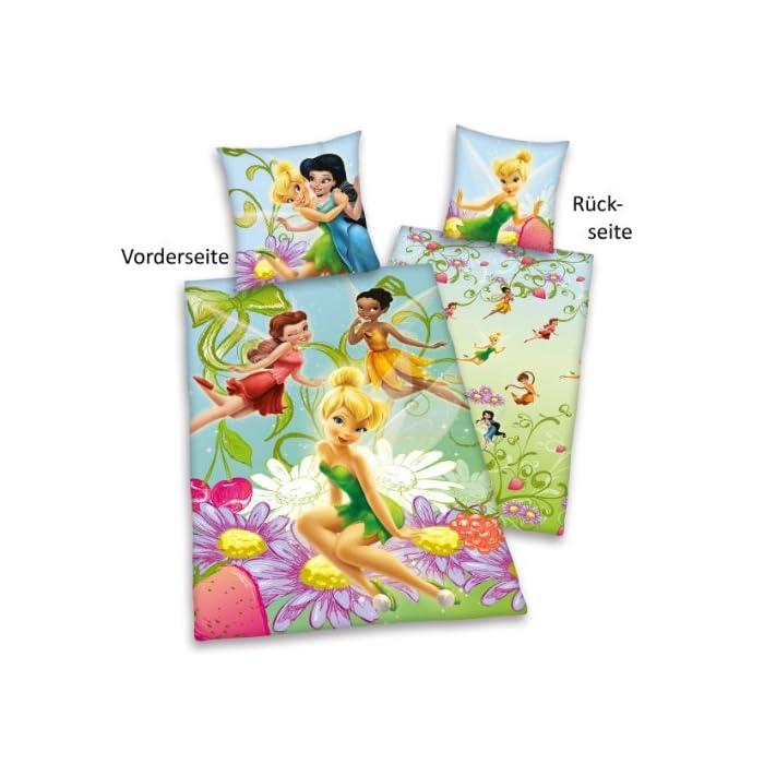 51o16K0w1kL Ropa de cama Disney Fairies De Almohada: 65 x 100 cm con cierre de botones, funda nórdica: 160 x 210 cm con cierre de botones. Material: 100% algodón.