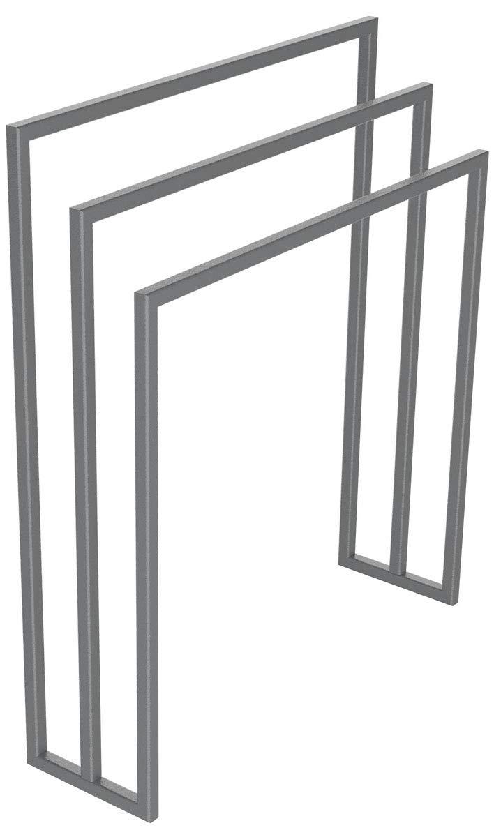 HOLZBRINK Metall Handtuchhalter für Badezimmer Kleiderständer Freistehender Handtuchständer mit 3 Stangen, Perldunkelgrau, 90x60x20 cm (HxBxT), HLMH-01B-90-60-9023 B07NML5P1F Handtuchstnder