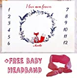 Baby Monthly Milestone Blanket Woodland 2018 Design Background Prop for Girl Or Boy + Headband/Free Photo Edit/Baby Photography Backdrop/Soft Quality Material