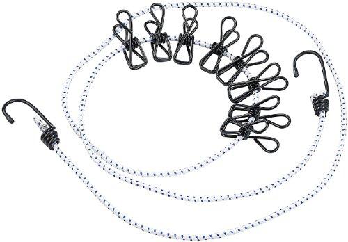 PEARL Flexible Wäscheleine mit 8 beschichteten Klammern, 170-210cm