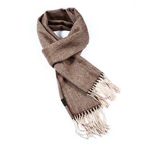 - A.WAVE Softer than Cashmere Wool Touch Tassel Ends Plaid Check Solid Scarf (ONE SIZE, BROWNWAVE)