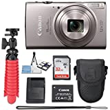 Canon PowerShot ELPH 360 20.2 MP HS Digital Camera (Silver) Wi-Fi with 12x Optical Zoom + 32GB Memory Card + Flexible Spider Tripod + Travel Camera Case + Point & Shoot Camera Accessories Bundle