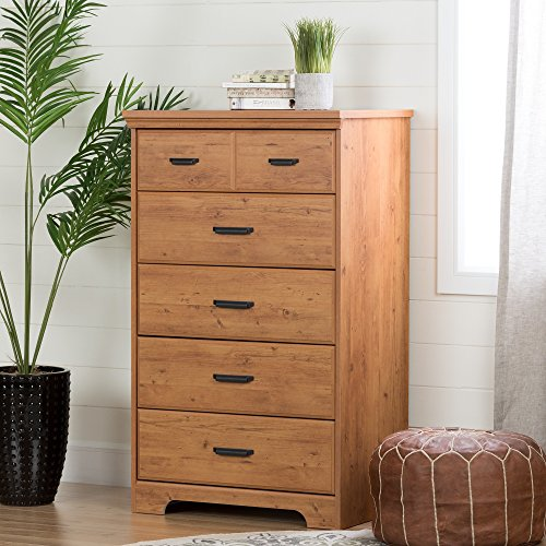 South Shore Versa Collection 5-Drawer Dresser, Country Pine with Antique Handles