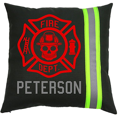Fully Involved Stitching Firefighter Personalized Black Maltese Cross Skull Pillow