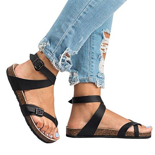 Donna Bassi Fibbia Spiaggia Eleganti Peep Minetom Casual Boemia da Piatte Estiva Estate Scarpe Sandali Shoes retr Toe Moda pdgwO