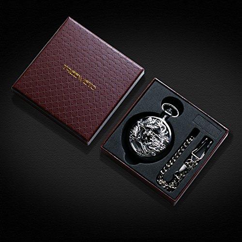 Treeweto Mechanical Skeleton Pocket Watch Silver Lucky Dragon + Gift Box