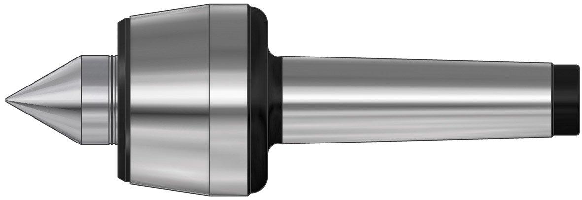 Röhm 42776 Type 604H Basic Tool Steel Standard Revolving Tailstock Center, Morse Taper 3, Size 106, 25mm Point Diameter