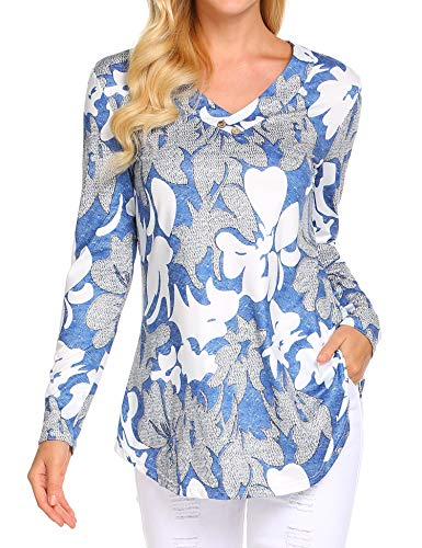 Womens Long Sleeve Floral Button Flare Shirt Peasant Blouse Dressy Tunics Tops Blue L