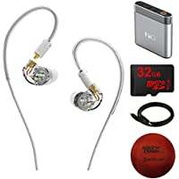 MEE Audio (EP-M7PRO-CL-MEE) M7 PRO Hybrid Dual-Driver Musicians In-Ear Monitors + Detachable Cables (Clear) w/ Amplifier Bundle Includes, FiiO Portable Headphone Amplifier, 32GB MicroSD Card + More