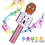 FISHOAKY Wireless Bluetooth Karaoke Microphone, 3 in 1 Portable Kids Karaoke Mic Speaker with Colorful LED and Magic Voice, for Home, KTV, Camping, Birthday Party