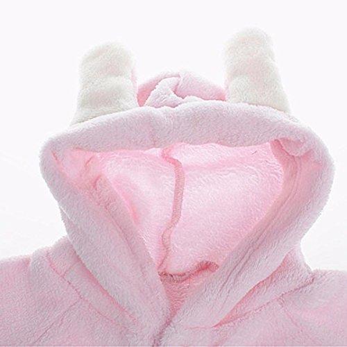 Omiky® Neugeborenes Baby-Säuglingsjungen-Mädchen-Kaninchen-Ohr-Spielanzug-mit Kapuze Overall-Ausstattungs-Kleidung Rosa