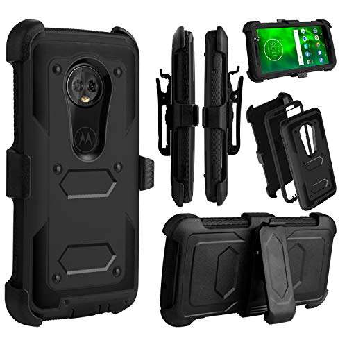 Venoro Compatible Moto G6 Case, Heavy Duty Shockproof Full Body Protection Case Cover with Swivel Belt Clip and Kickstand Compatible with Motorola Moto G6 (Black)