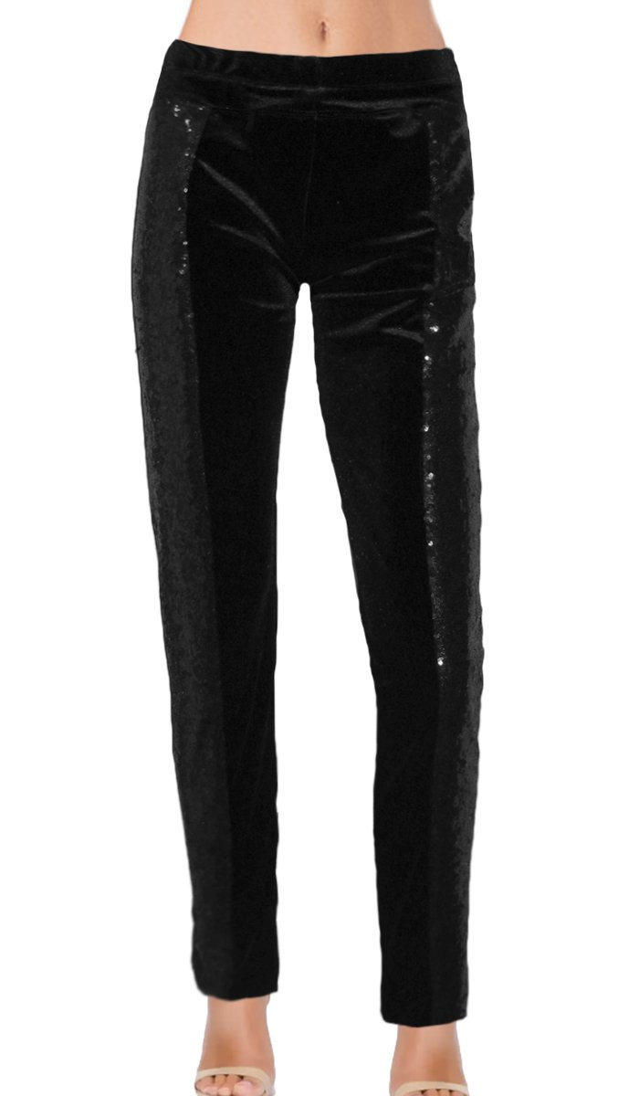 Ooh la la Plus or Misses Fully Lined Sequin Pant With Stretch Waistband Straight Leg or Cuffs (Medium, Black Pencil Leg)