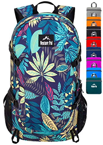 Venture Pal 40L Lightweight Packable Backpack with Wet Pocket - Durable Waterproof Travel Hiking Camping Outdoor Daypack for Women Men-Purple Leaf