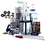 Master Brewer's HomeBrewing Beer Brewing Equipment Starter Kit With Draft Brewer 5 Gallon Tap-N-Fill Kegging System - Plastic Big Mouth Bubbler & Glass Carboy