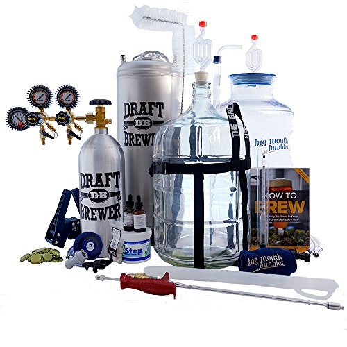 Northern Brewer - Master Brewer's HomeBrewing Beer Brewing Equipment Starter Kit With Draft Brewer 5 Gallon Tap-N-Fill Kegging System - Plastic Big Mouth Bubbler & Glass Carboy