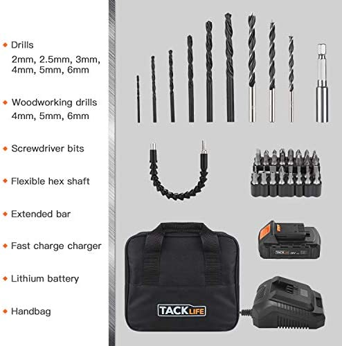 TACKLIFE 20V Cordless Drill Driver, 1 2 Metal Chuck,2 Speeds and Big Torque Hammer Drill Set with 43pcs Accessories,2000mAh Lithium Battery Pack and 1Hour Fast Charger,PCD04B