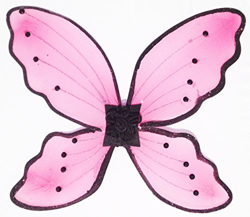 Little Girl Pink & Black Glitter Fair Wings Halloween Costume Accessory (15