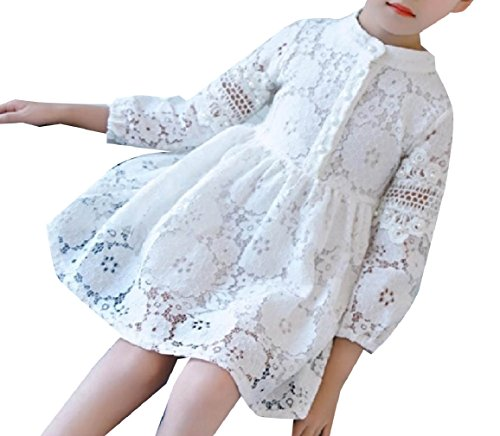 RDHOPE Kids Lace Solid Long-Sleeve Beaded Soft Party Wedding Dresses White 150