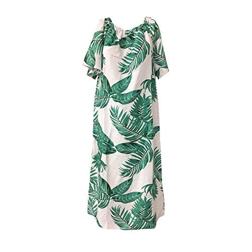 LONDON ADA fantasia felci ORION DRESS abito con bianco verde donna mod LONG 1nBdzWBg