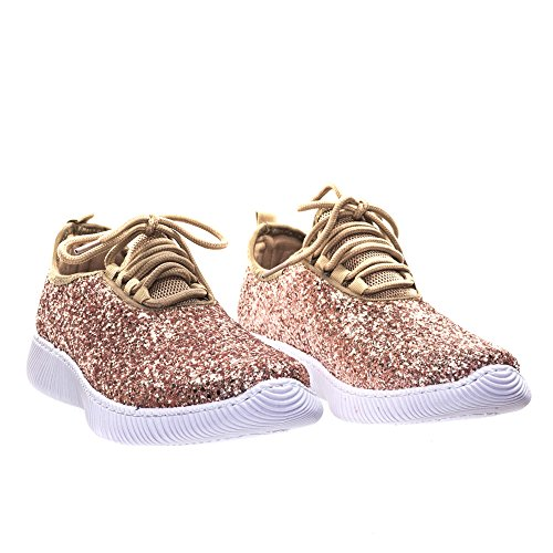 Forever Link Damen REMY-18 Glitter Fashion Sneakers H-Roségold