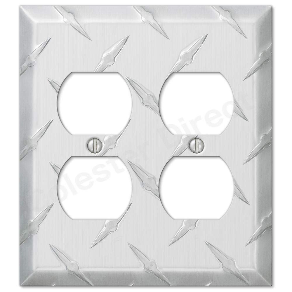 Diamond Plate Aluminum Wall Switch Plate Outlet Cover Toggle Rocker GFI Garage (Power Outlet-Duplex Double)