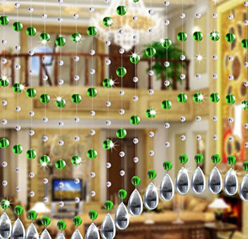 Woaills A Set Luxury Home Decoration Crystal Glass Bead Curtain For Living Room Bedroom Window Door Wedding Decor 1M By (Green)