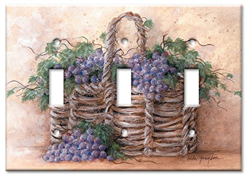 Art Plates - Grape Basket Switch Plate - Triple Toggle