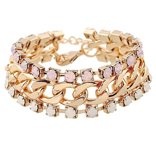 D EXCEED Jewelry Womens Gold Chuncky Chain Double Layered Crystal Bangle Bracelet, 7.5