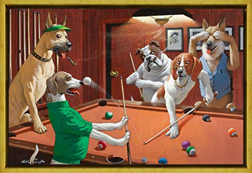 Framed Playing Pool Dogs (Berkin Arts Framed Arthur Saron Srnoff Giclee Canvas Print Paintings Poster Reproduction (Dogs Playing Pool))