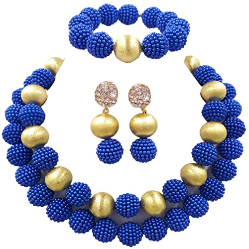 (aczuv Nigerian Wedding African Beads Red Jewelry Sets for Women Simulated Pearl Necklace and Earrings (Royal Blue))